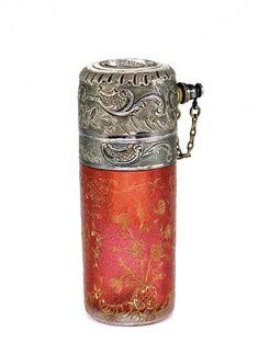 c1900 Daum perfume atomizer, cased cranberry cameo glas