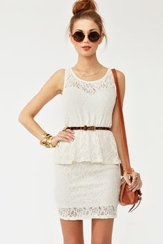 """Lace Peplum Dress - Super cute cream lace dress featuring a sheer sweetheart neckline and peplum detailing. Stretch panel at waist, partially lined. Looks amazing paired with bold lips and platforms!     *Shell: Cotton/Nylon Blend; Lining: 100% Polyester  *33"""" length"""