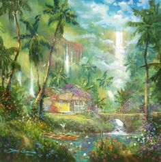 Hi Resolution Image for James Coleman Limited Edition Giclee on Canvas Warm Aloha (SN) (Small) Art Fantasy Landscape, Fantasy Art, Tropical Artwork, Creation Photo, Hawaiian Art, Photo Wall Collage, Small Art, Beach Art, Contemporary Artists