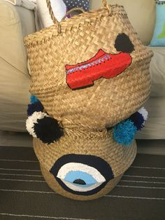 straw storage baskets tsolias and mati#evil eye