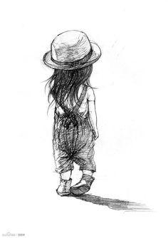 Little girl 1 Art Drawings For Kids, Art Drawings Sketches Simple, Pencil Art Drawings, Cute Drawings, Girl Face Drawing, Doodle Art, Cute Art, Amazing Art, Illustration Art