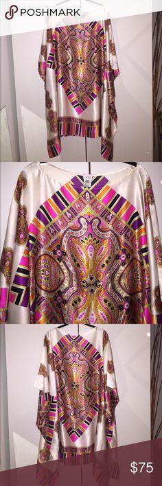 Cache silk bohemian tunic kaftan xs 100% silk Cache tunic with tribal bohemian design, and waist tie. BEAUTIFUL! Size xs. Gently worn. Cache Dresses Mini