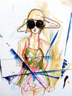 Colors like gelato watercolor girl illustration by blondelasagna/ blair breitenstein