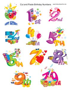 Cut and Paste Numbers to paste onto Birthday Cake http://www.kidscanhavefun.com/cut-paste-activities.htm #kidsactivities #worksheets #preschool