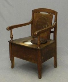 816 Carved Walnut Commode Chair 19th C The Back Wit On