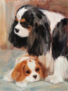"""My Pride and Joy"" canvas giclee print by Lindsey Bittner Graham ~ 10 x 8 Cavalier King Charles Dog, King Charles Spaniel, Dog Portraits, Animal Paintings, Dog Art, Watercolor Paintings, Illustration Art, Pride, Drawings"