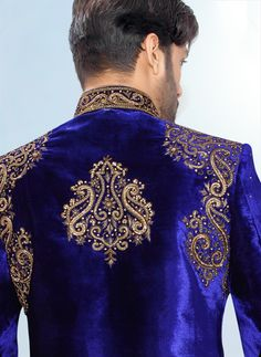 500624 Blue color family Sherwani in Velvet fabric with Machine Embroidery, Sequence, Bugle Beads work. Wedding Dresses Men Indian, Wedding Dress Men, Wedding Men, Wedding Suits, Indian Weddings, Farm Wedding, Wedding Couples, Boho Wedding, Wedding Reception