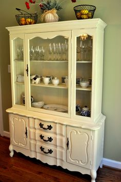 Chalk Paint china cabinet (I just bought one exactly like this! Janet at The Empty Nest did hers in Annie Sloan Coco on the outside, Aubusson on the inside and it's beautiful!)