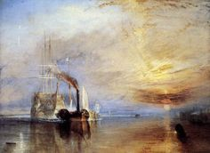 It's a William Turner Morning. The Fighting Temeraire tugged to her last berth to be broken up, 1838 Joseph Mallord William Turner. The one and only forever out of reach, any Turner would be welcome on my walls. Joseph Mallord William Turner, Painting Prints, Painting & Drawing, Art Prints, Oil Paintings, Romanticism Paintings, Canvas Prints, Painting Gallery, Life Drawing