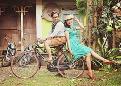 Bella & Reza Cyclists, Bicycles, Bike, People, Photography, Vintage, Style, Fashion, Bicycle