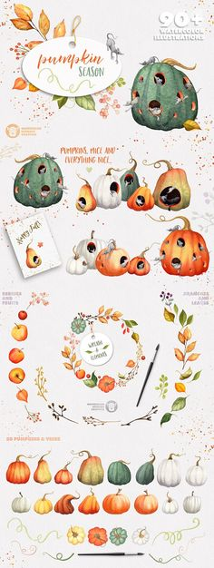 Pumpkin Season Watercolor Collection by Watercolor Nomads on @creativemarket