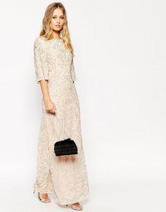 Needle & Thread Embellished Fleur Fluted Sleeve Maxi Evening Dress UK 6/EU 34