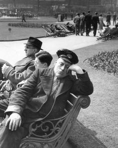 A City of Westminster employee relaxes in the sun during his lunchbreak on the London Embankment in 1951.