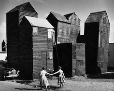 'Skyscraper' fishermen's sheds, the Stade, Hastings, Sussex 1956