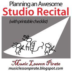 Studio Recital Checklist | Music Lesson Pirate - Violin Teaching Resources