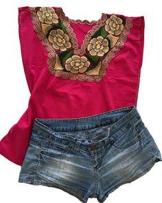 Blusa bordada mexicano hecho a mano ropa mexicana por TheGranBlue
