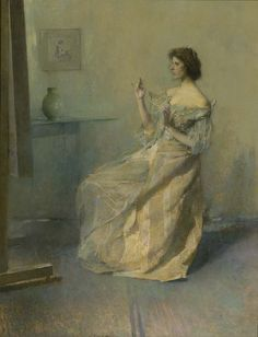 """""""The Necklace"""" by Thomas Wilmer Dewing. 1907 oil on wood. In the collection of The Smithsonian American Art Museum, Washington, DC. Gift of John Gellatly."""