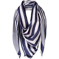 Parcae Square Scarf (2.250.965 IDR) ❤ liked on Polyvore featuring accessories, scarves, dark blue, striped scarves, striped shawl, square shawl, logo scarves and square scarves