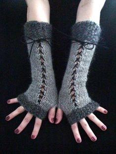 Fingerless Gloves Arm Warmers Corset Gloves in Light and Dark Grey