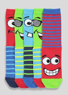 4f2b747ae00 Boys 5 Pack Funny Face Socks (Younger 6-Older 6.5). Matalan