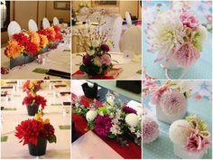 [ 会場装花:和婚・和装 ] 最近すっかり人気が定着した和婚。会場装花にはダリアやモダンなマム(菊)を使ったものが人気です。