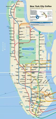 A Subway Map of All the Best Coffee Shops In NYC #coffee #newyork