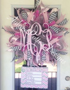 Custom Baby Girl/Boy Personalized Vine Monogram With Attached Announcement… Hospital Door Baby, Hospital Door Hangers, Baby Door Hangers, Baby Door Wreaths, Baby Boy Wreath, Baby Kranz, Vine Monogram, Deco Mesh Wreaths, Baby Decor