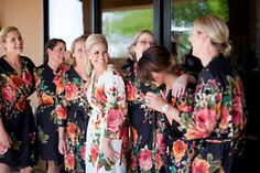 Black White Wedding Theme Ideas Real life Sample of Floral bridesmaids robes made with fabric pattern D8. This is a unique bridesmaids gift idea - Perfect photo prop for the getting ready time on your big day as well as a practical gift which can be used by the bridesmaids long time after the wedding. Robes like these can also be used as spa robes, lounge wear, they are also commonly referred to as kimono crossover robe. These robes are also ideal for bridal shower, wedding favors, bridal…