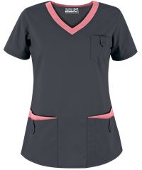 Butter-Soft Scrubs by UA - Women's Rounded V-Neck 5-Pocket Top, Style# UA638C #scrubs, #fashion, #pewterwithpoutypink, #nurses
