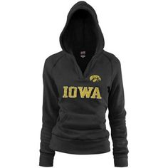 Iowa Hawkeyes Ladies Black Rugby Vintage Hoodie Sweatshirt    Theresa size S