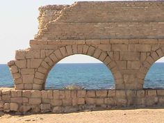 The arches of Cesarea Maritima Aqueduct built during the reign of Herod