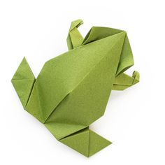 Pre-Colombian Origami Frog, design by Leyla Torres. Folded from a single sheet of green tant origami paper. Link to video instructions.