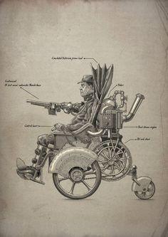 doctormonocle:    Steam powered wheelchair schematic by Bedeekin