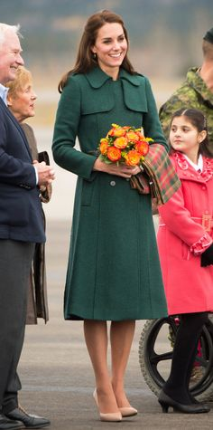 SEPT. 27, 2016  The duchess stunned in a tailored emerald green Hobbs coat after landing in chilly Yukon.