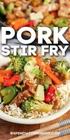 Wok Recipes, Stir Fry Recipes, Cooking Recipes, Recipe For Beef Stir Fry, Veggie Asian Recipes, Healthy Stir Fry Sauce, Easy Dinner Recipes Pork, Homemade Stir Fry Sauce, Healthy Pork Recipes