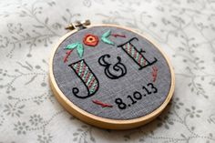 Custom Wedding Embroidery Hoop....Saw this and thought of Jessica and Ethan ;)