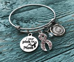 I Wear Pink For My Mom Silver Bracelet Charm Awareness Ribbons Cancer