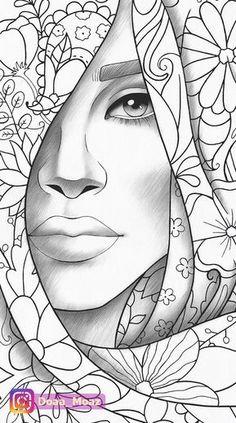 fashion zentangle girl art & girl zentangle art & zentangle art girl face & zentangle art girl drawings & zentangle art of girl & zentangle art girl dress & zentangle art girl illustrations & zentangle art girl hand drawn & fashion zentangle girl art Outline Drawings, Pencil Art Drawings, Art Drawings Sketches, Girl Drawings, Coloring Book Pages, Printable Coloring Pages, Coloring Sheets, African Art Paintings, Art Sketchbook