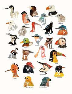 cute bird head alphabet
