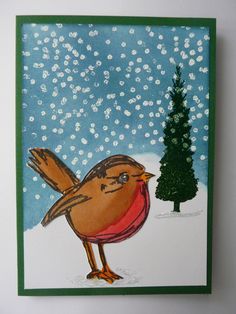 Dina's Scribbly Birds stamp for Christmas ~ card made by Enny