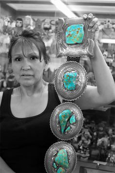 This is an incredible museum-quality Navajo Concho belt. 3,000 carats of perfectly matched Royston turquoise is centered in five sterling silver oval conchos and one rectangular belt buckle. The belt, and especially the turquoise used in its making, has an amazing story behind it!