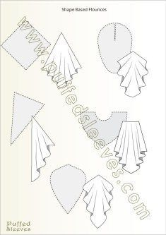 Shapes used to make flounces Illustrated tutorials for common sewing techniques and apparel construction. Printable patterns for girl dresses available Size Sewing Hacks, Sewing Tutorials, Sewing Crafts, Sewing Projects, Sewing Basics, Sewing Tips, Sewing Ideas, Techniques Couture, Sewing Techniques