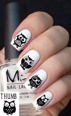 adorable owl nail art diy idea #diy, #nailart