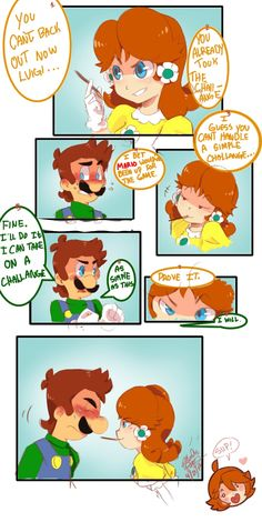 Luigi and Daisy (c) Nintendo =============== i don't know what to call it yet , i remember drawing something like this years ago it was 3 pa. Luigi X Daisy - Old Comic Remake Mario Bros., Mario And Luigi, All Mario Games, Mass Effect Comic, Princesa Daisy, Mario Comics, The Shadow Queen, Luigi And Daisy, Super Mario Art