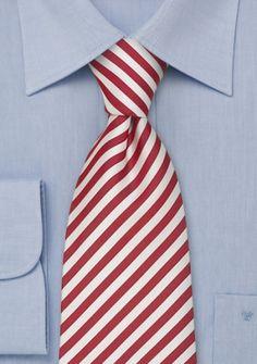 Gestreifte Krawatte in kirschrot/weiß