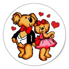 Teddy Bear Love Valentine Stickers