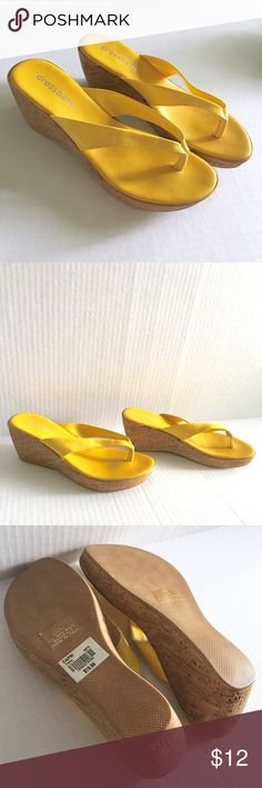 "NWT Yellow Cork Thong Wedges NWT Yellow Dressbarn Cork Wedge Thongs // sz 8M // retail $19.99 // style is Capri // made in Italy // never worn. // 2.5"" heel // fun and summery! // non-smoking home // not my size. Can't model // 20% off 3+ Bundles // offers welcome// Same or next day shipping // No trades // 7.6.12 Dress Barn Shoes Wedges"