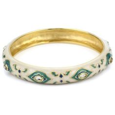 Isharya Polki Print Enamel Green Turquoise-Color Bangle Bracelet, Size Extra Small - designer shoes, handbags, jewelry, watches, and fashion accessories | endless.com