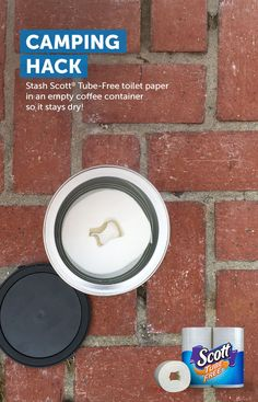 A soggy roll with a soggy cardboard tube can be a damper when you're out in nature. Hack your next trip by taking an empty coffee can to safely store your Scott Tube-Free toilet paper – not only will it stay dry, but you won't have to deal with a cardboard tube. #TossTheTube