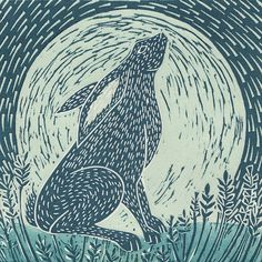 Moon gazing hare is an original linocut print in tones of blue. Michelle Hughes creates limited edition linocut prints, inspired by nature and the great British countryside. Linolium, Linocut Prints, Art Prints, Block Prints, Hare Illustration, Camera Illustration, Lino Art, Linoprint, Rabbit Art